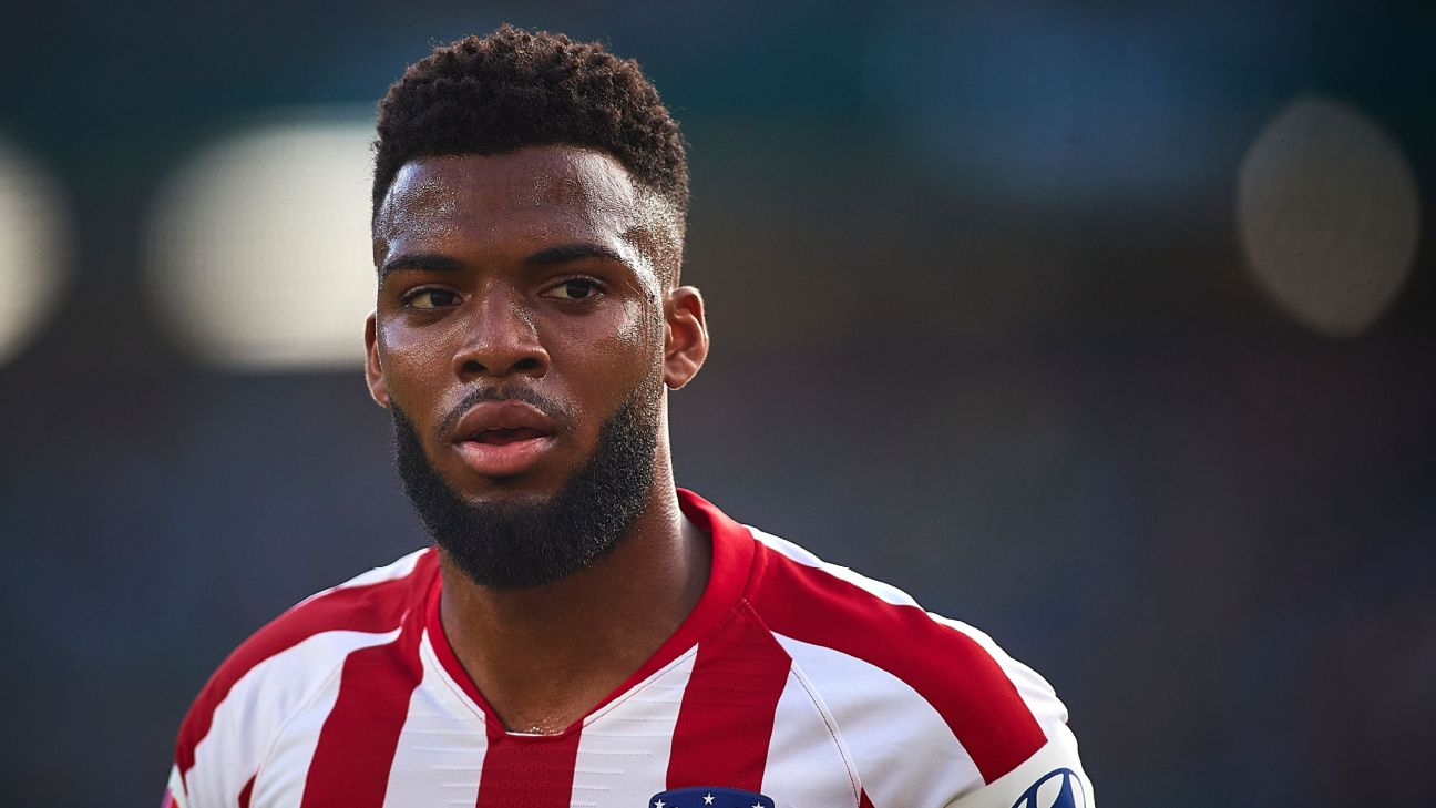 Thomas Lemar looks on during Atletico Madrid's La Liga match against Real Betis.