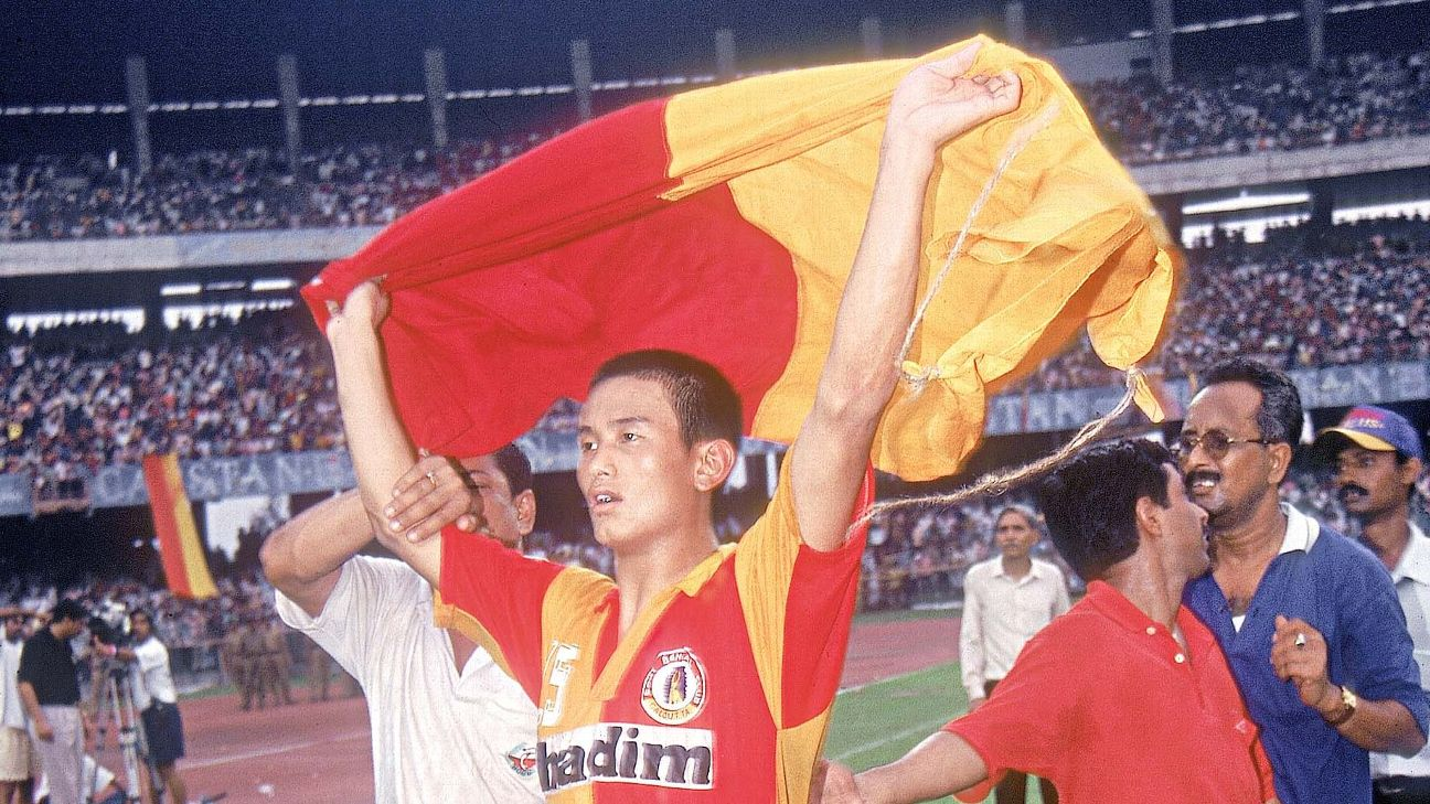 File photo: Bhutia became the first player to score a hat trick in the Kolkata Derby in 72 years in the semifinals of the Federation Cup in 1997.