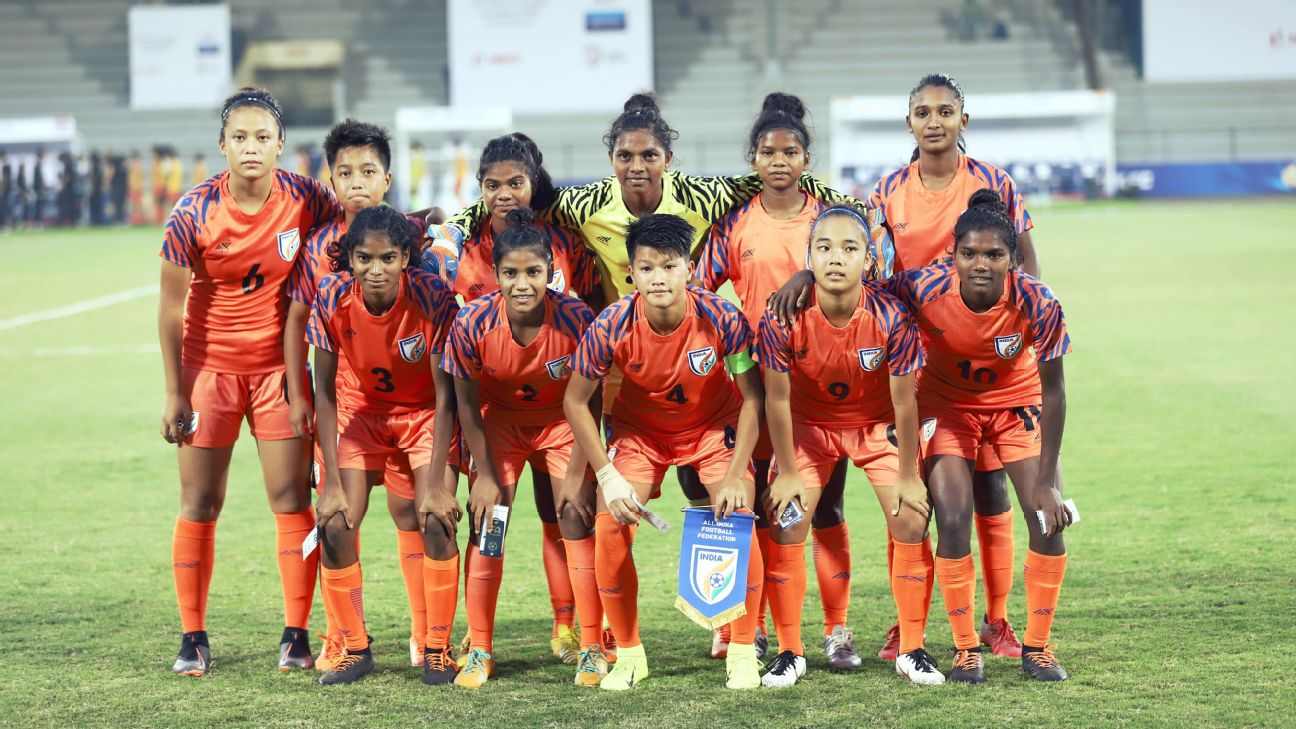 The Indian women's U17 team poses for a photo before their tri-nation tournament match against Thailand in December.