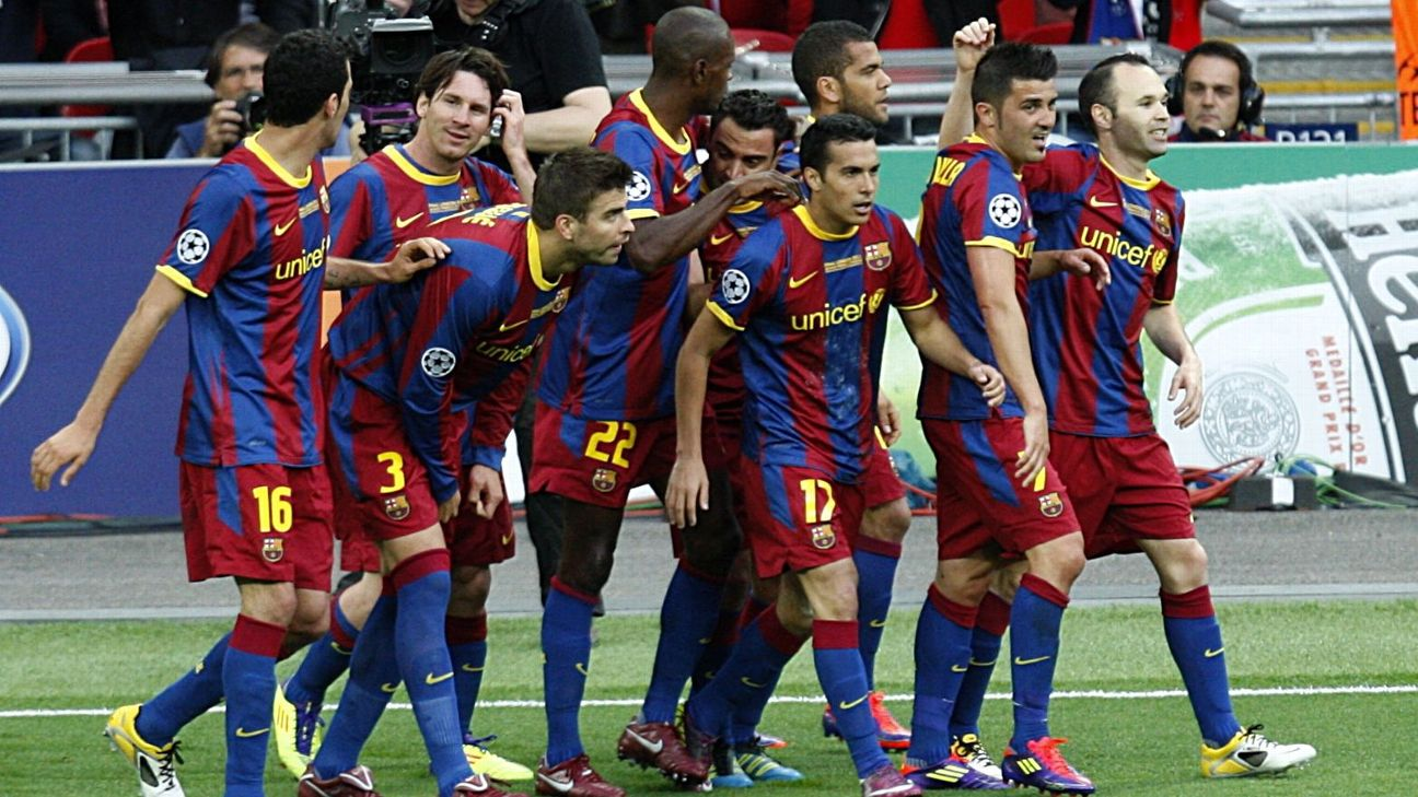 Barcelona players celebrate after scoring a goal in their 2011 Champions League final win vs. Man United.