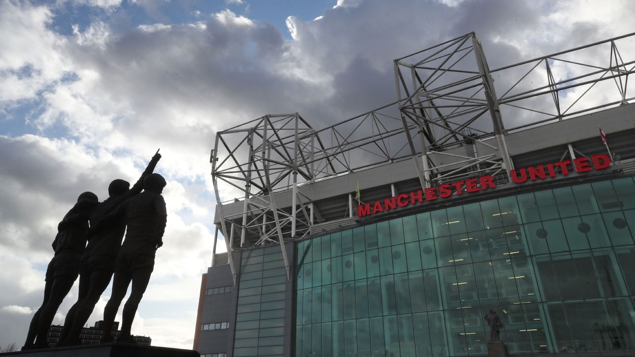 A general view of the statue of the United Trinity during the Premier League match at Old Trafford, Manchester