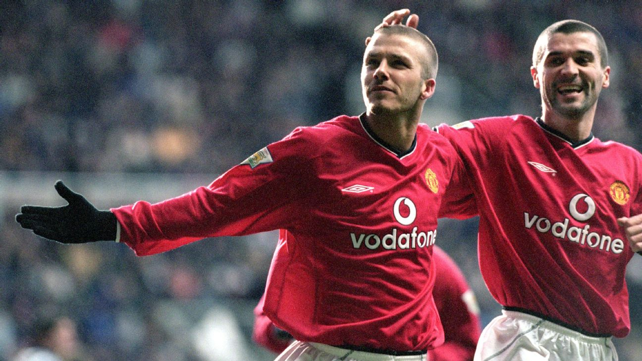 David Beckham (left) and Roy Keane (right) of Manchester United celebrate