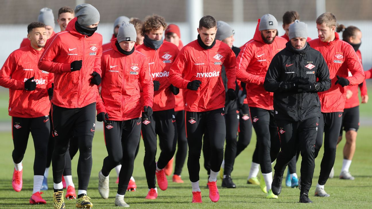 Spartak Moscow training ahead of a Russian Premier League match against Dynamo Moscow.