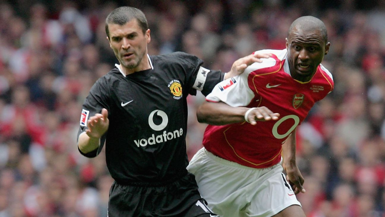 Roy Keane of Manchester United clashes with Patrick Vieira of Arsenal during the FA Cup Final match