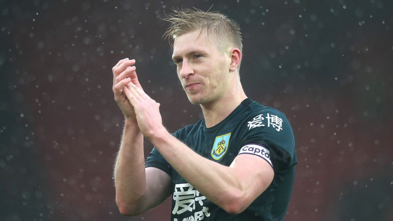 Ben Mee applauds fans after Burnley's Premier League match at Southampton.