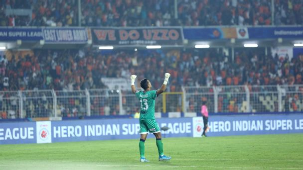 Mohammad Nawaz celebrates as FC Goa equalize in their home match against Bengaluru FC during the ISL 2019-20 season in Margao on October 28, 2019.
