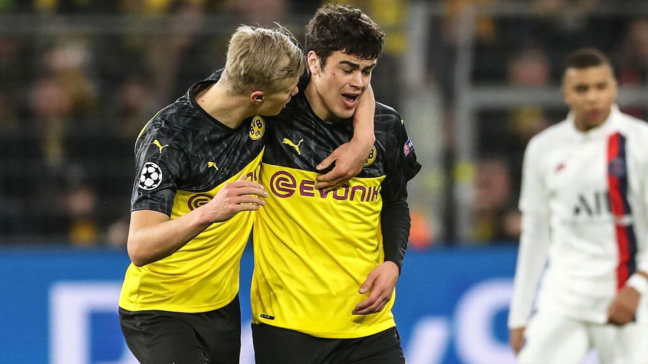 Erling Haaland, left, and Gio Reyna celebrate after a Borussia Dortmund goal in the Champions League.