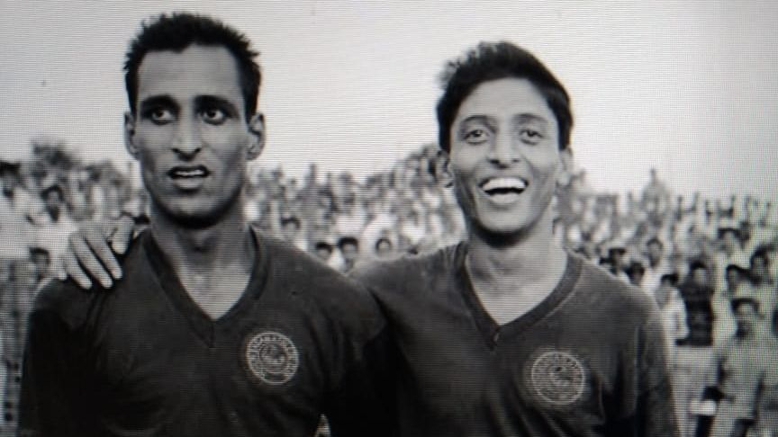 Chuni Goswami (right) with Mohun Bagan teammate Ashim Moulik, circa 1966.