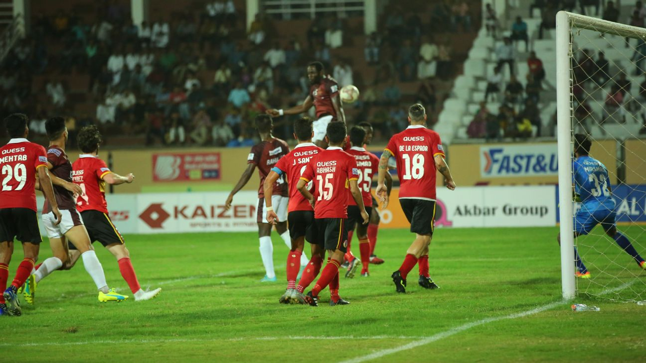 Action from the Gokulam Kerala vs East Bengal game played in Kozhikode in March 2020.
