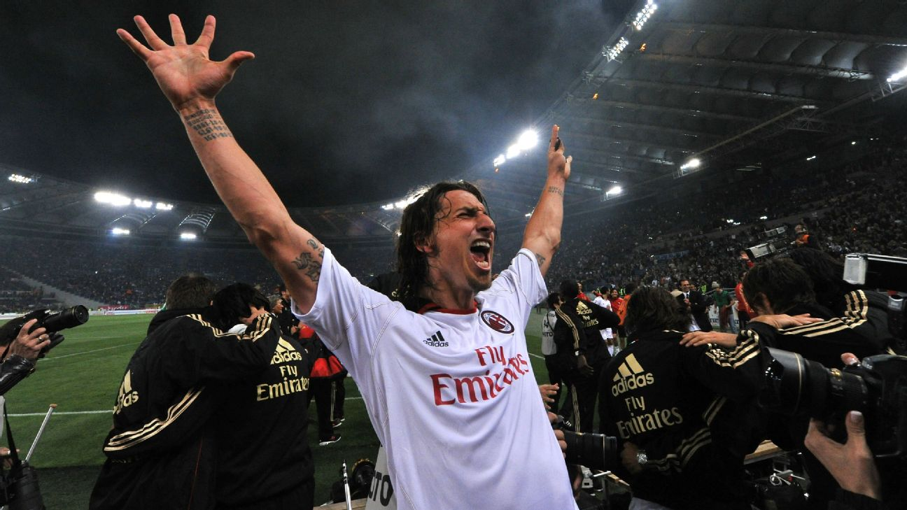 AC Milan's Swedish forward Zlatan Ibrahimovic celebrates after his team's Italian Serie A football match against AS Roma in Rome's Olympic Stadium on May 7, 2011