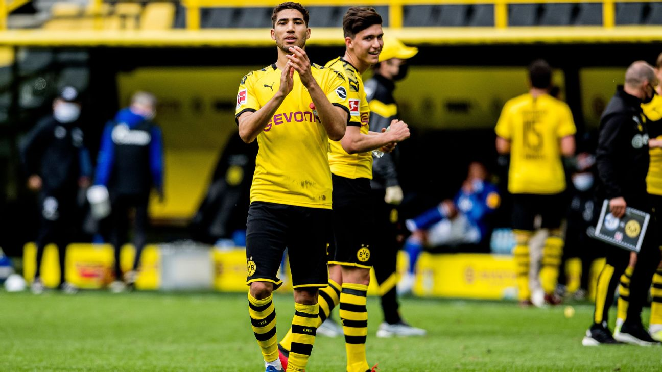 Achraf Hakimi celebrates after Borussia Dortmund had defeated FC Schalke 04 in their German Bundesliga fixture at Signal Iduna Park.