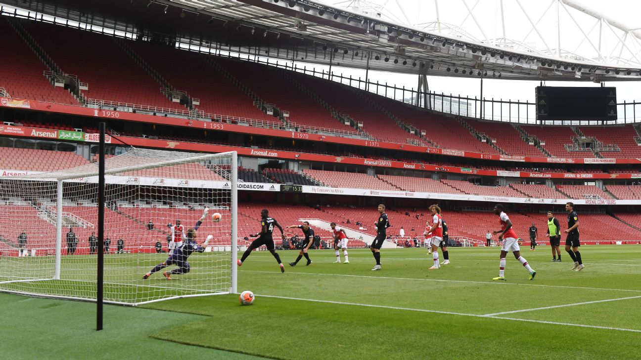 Arsenal and Charlton played a friendly in front of an empty Emirates Stadium in London on Saturday.