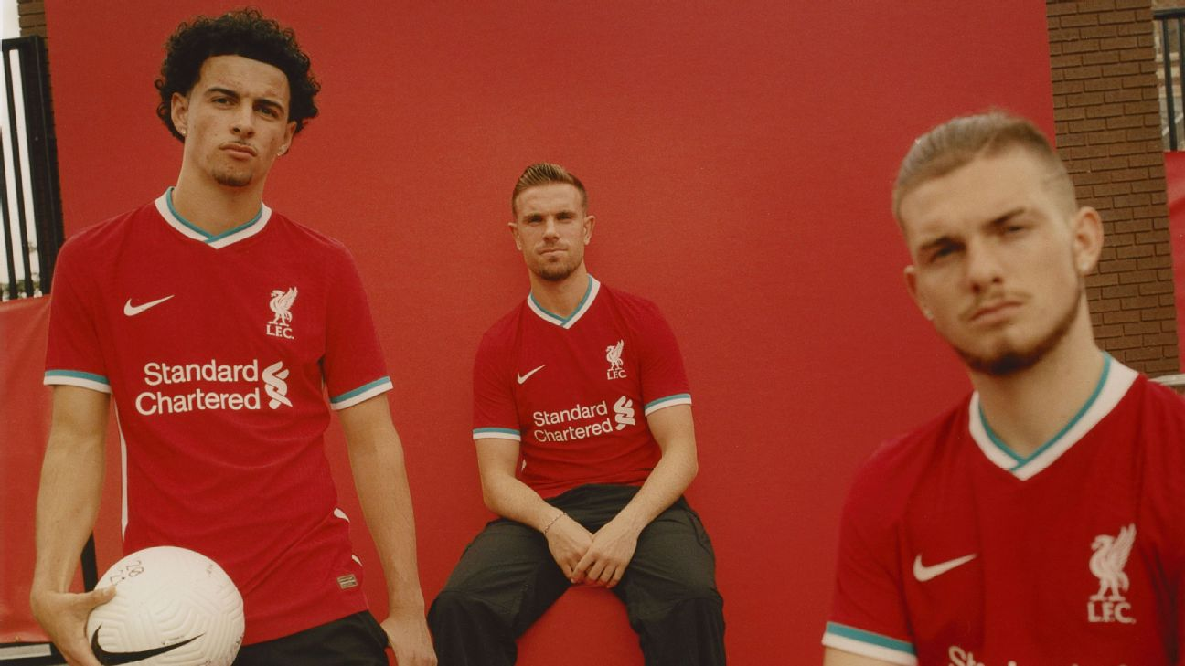 Liverpool S Champions Reveal Teal And White Trim On New 2020 21 Home Kit