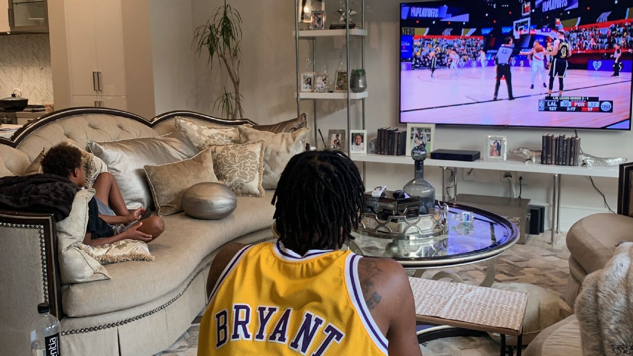 NBA playoffs: From afar, watching Lakers-Blazers with Trevor Ariza