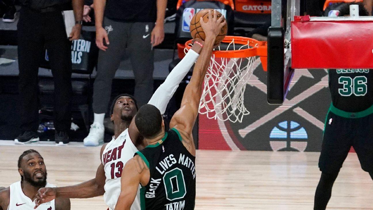 Bam Adebayo's stunning block preserves win for Miami Heat over Boston  Celtics