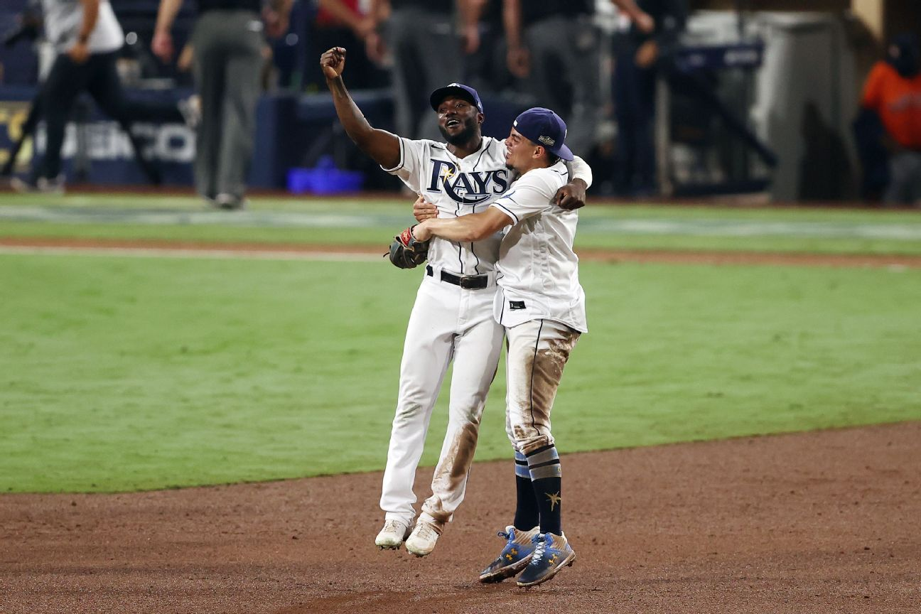 tampa bay rays with help of alcs mvp randy arozarena hold off houston astros in game 7 to reach world series tampa bay rays with help of alcs mvp