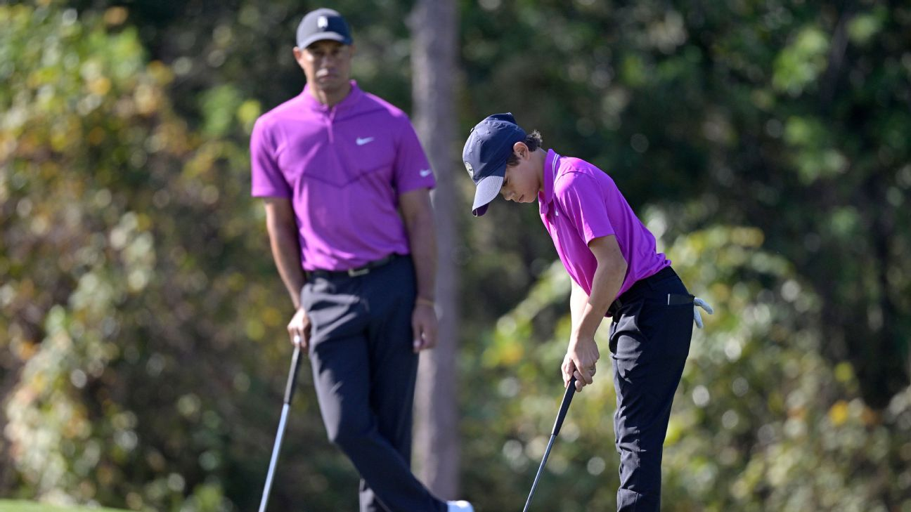 Tiger Woods Son Charlie Carries Dad To Sixth In First Round Of Pnc Championship
