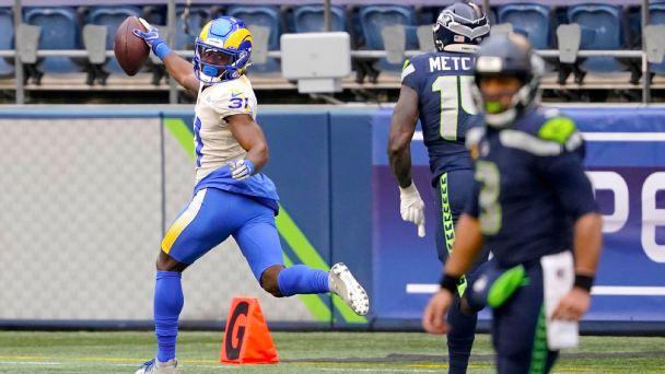 Darious Williams, DK Metcalf exchange touchdowns as Rams lead Seahawks