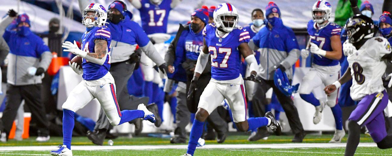Taron Johnson's incredible 101-yard INT return pads Bills' lead