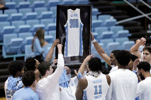 UNC's Williams fifth men's coach to hit 900 wins