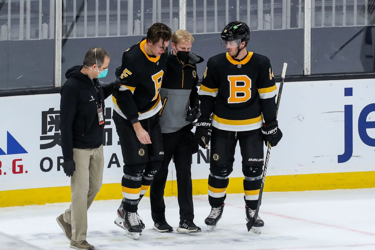 Bruins' Carlo will be out 'a while' after Wilson hit