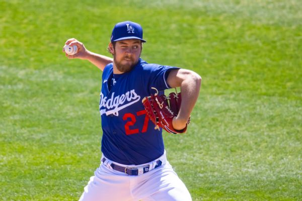 Dodgers' Bauer pitches to Padres with 1 eye shut