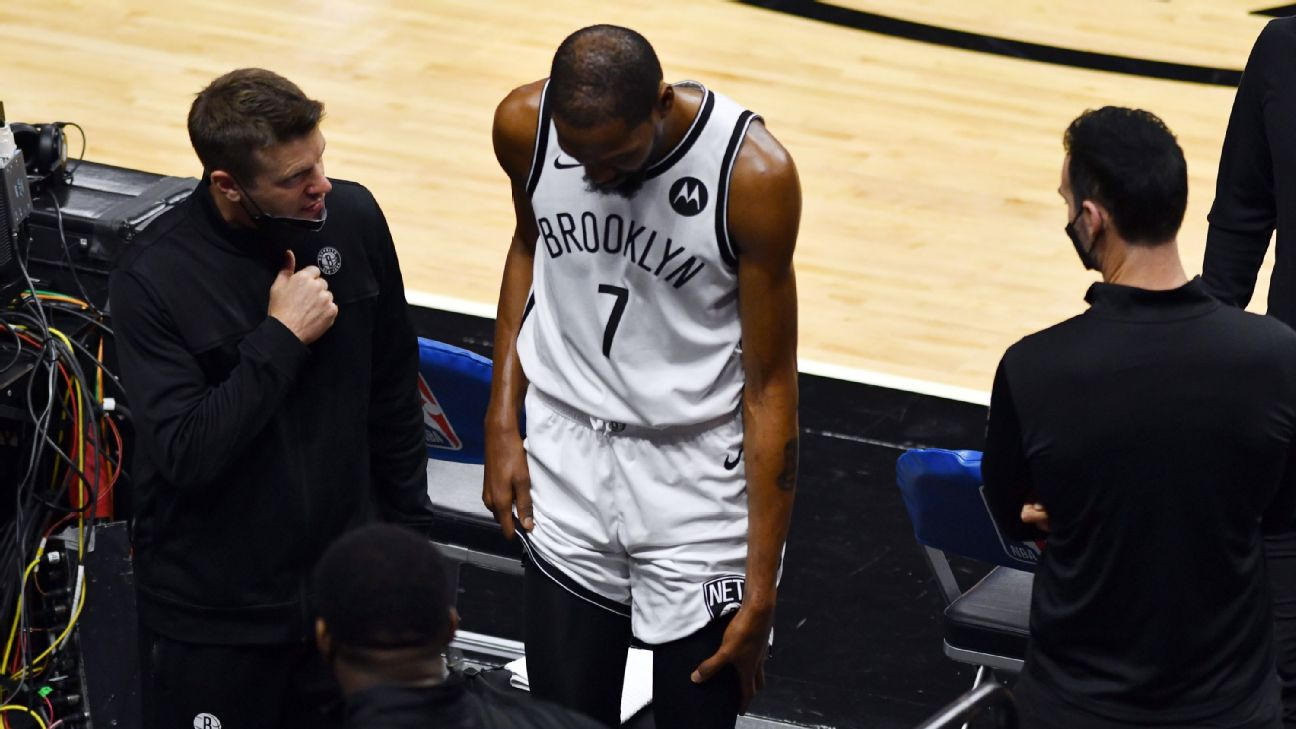 Durant exits Nets' loss early with thigh contusion