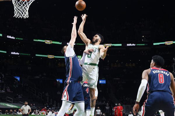 Tatum lifts Celts to 7th seed with 50-point night