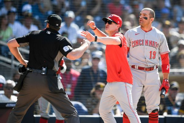 Reds' Votto, Bell ejected after arguing strikeout