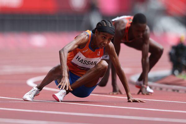 Hassan overcomes fall to win 1,500-meter heat