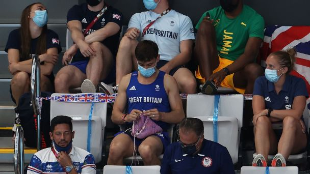 Great Britain diver Tom Daley knits while in stands at Tokyo Olympics
