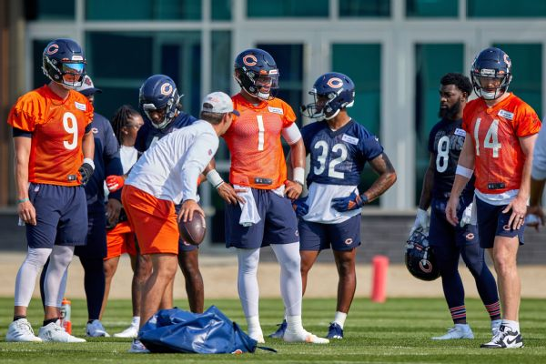 Nick Foles, Justin Fields, Andy Dalton, Chicago Bears, NFL training camp, 2021
