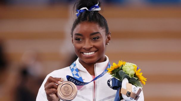 Biles discusses her mental health, challenges after winning bronze on beam