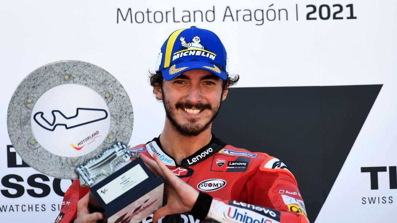 Bagnaia holds off Marquez in Aragon thriller for maiden MotoGP triumph