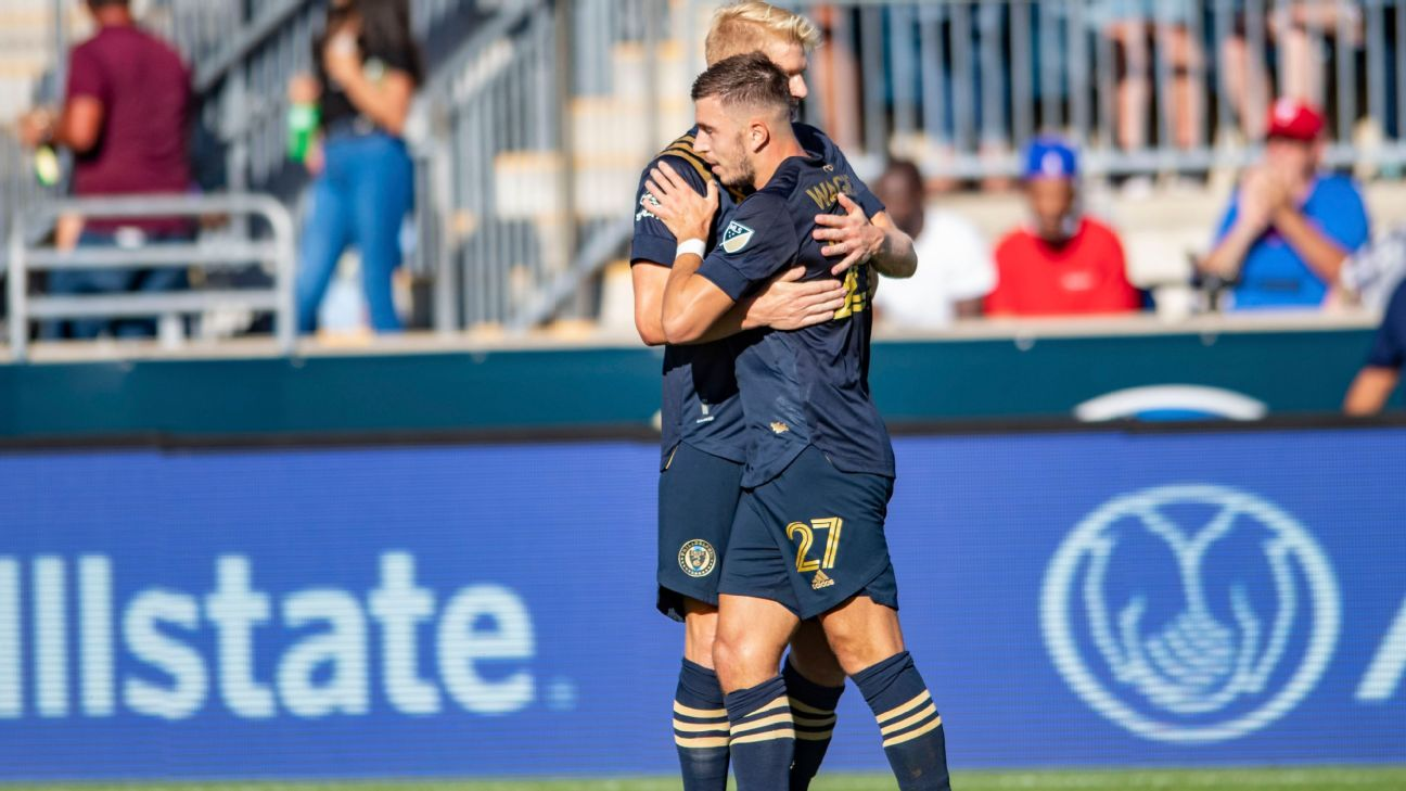 Philadelphia Union players celebrate after scoring a goal against Orlando City in MLS.