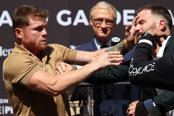 Canelo, Plant trade punches at news conference