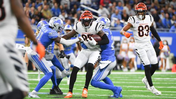 Cincinnati Bengals wide receiver Tee Higgins (85) makes a reception for a first down during the game between the Detroit Lions and the Cincinnati Bengals.